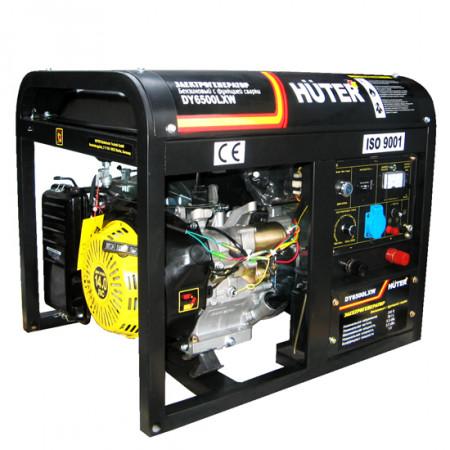 Портативный бензиновый генератор с функцией сварки Huter DY6500LXW